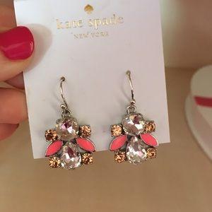 Kate spade pink crystal hanging earrings new
